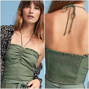 NEW Anthro Maeve army green sunset ruffle halter L